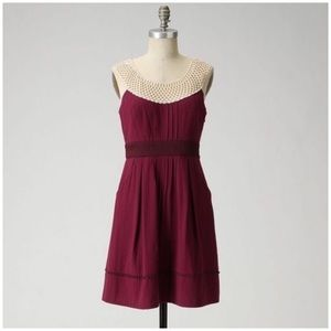 Floreat Betine Burgundy Lace Collar Pin-tuck Dress